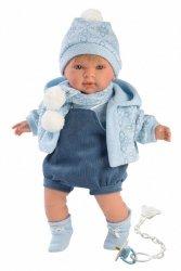 Llorens Lalka płacząca Miquel chłopiec niebieska bluza 42149 42 cm
