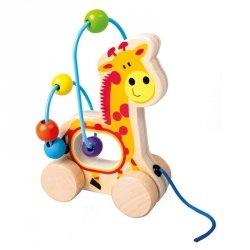 BINO Drewniany labirynt jeździk-żyrafa