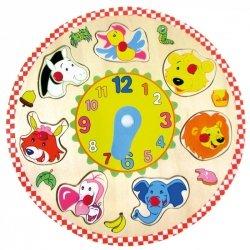 BINO Drewniany zegar puzzle zwierzęta