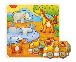 Brimarex Puzzle drewniane z pinezkami TOP BRIGHT - Safari