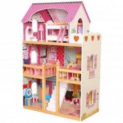 BINO Duży Domek Drewniany dla lalek z meblami