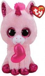 Meteor Maskotka TY Beanie Boos Darling, różowy jednorożec serce