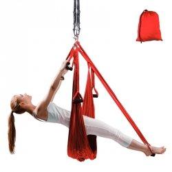 Antygrawitacyjny hamak do jogi inSPORTline Hemmok Kolor Czerwony