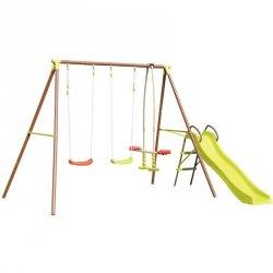 Huśtawka Ogrodowa 4-Osobowa + Zjeżdżalnia Plac Zabaw Dla Dzieci