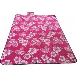Koc Plażowo Piknikowy 200X150Cm Różowy Kwiaty Royokamp