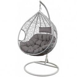 Fotel bujany Cocoon roz.l z technoratanu j.szary biały
