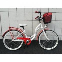 Rower Miejski Vivienne Folk 26 3B Nexus Biało-Czerwony