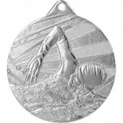 Medal 50mm stalowy srebrny - pływanie MMC7450/S