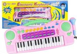 Keyboard Organki Różowe z Mikrofonem 32 Klawisze