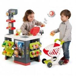 Smoby Czerwony Supermarket Elektroniczna Kasa światło dźwięk 42 akcesoria Wózek
