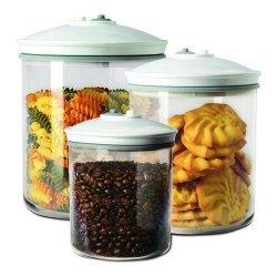MAGIC VAC Food storage containers set 3 + 1.5 + 0.75L with lids ACO1082 Plastic BPA free, Transparent/ white