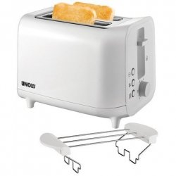 Unold Toaster 38411 White, Plastic, 800 W, Number of slots 2, Number of power levels 6, Bun warmer included
