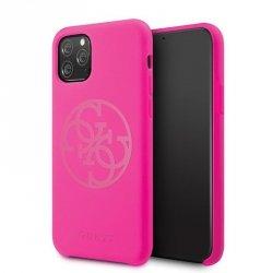 Guess Slilicon 4G Tone on Tone Logo - Etui iPhone 11 Pro (Fuchsia)