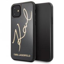 Karl Lagerfeld Double Layers Glitter Signature Case -  Etui iPhone 11 (Black)
