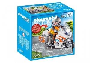 Playmobil Zestaw figurek Motocykl ratowniczy ze światłem