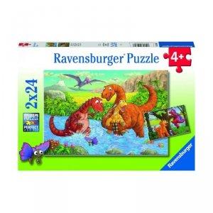 Ravensburger Puzzle 2x24 elementy Bawiące sie dinozaury