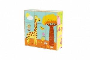 iWood Klocki drewniane Zwierzątka dzikie kolorowe