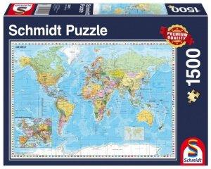Schmidt Puzzle 1500 elementów Mapa świata
