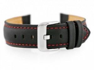 Pasek skórzany do zegarka BISSET BS-158 - 22mm (red)