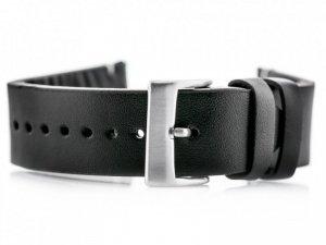 Pasek skórzany do zegarka W118 - czarny/białe - 22mm