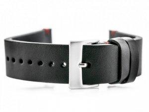 Pasek skórzany do zegarka W118 - czarny/czerwone - 22mm