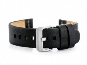 Pasek skórzany do zegarka W69 czarny - 24mm