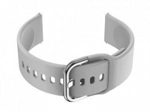 Pasek gumowy do smartwatch 18mm - szary/srebrny