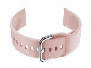 Pasek gumowy do smartwatch 20mm - różowy/srebrny