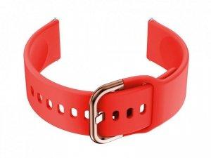 Pasek gumowy do smartwatch 20mm - czerwony/r.gold