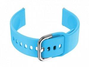 Pasek gumowy do smartwatch 20mm - niebieski/srebr.