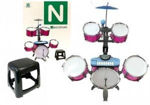 Perkusja z Keyboardem Mikrofon 5 Bębnów Różowa