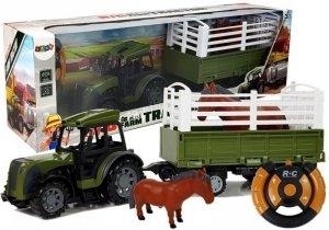 Zielony Traktor z Wysoką Przyczepą  Figurka Konia Zdalnie Sterowany 2.4G