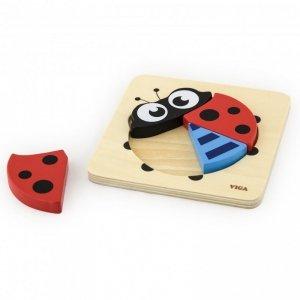 VIGA Pierwsze drewniane Puzzle maluszka Biedronka