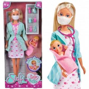 SIMBA Lalka Steffi Love Pediatra z Maseczką + Akcesoria