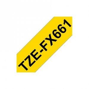 Brother TZe-FX661 Flexible ID Laminated Tape Black on Yellow, TZe, 8 m, 3.6 cm