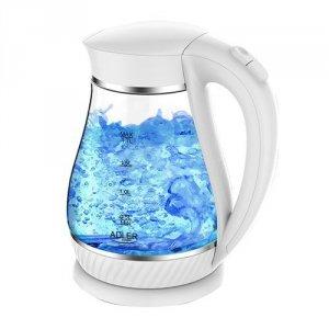 Adler Kettle AD 1274 Standard, Plastic, glass, White/ transparent, 2200 W, 360° rotational base, 1.7 L