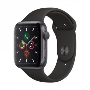 Apple Watch Series 5 GPS, 44mm Space Grey Aluminium Case with Black Sport Band - S/M & M/L LT