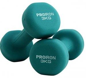 PROIRON PRKNED03K Dumbbells, 2 pcs, 3 kg, Dark Green, Neoprene