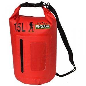 Wodoszczelna torba 15l z etui na telefon czerwona