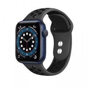 Crong Duo Sport - Pasek do Apple Watch 42/44/45 mm (szary/czarny)