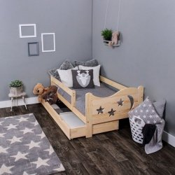 Łóżko dziecięce sosnowe Chrisi niemalowane 160/80 + Materac