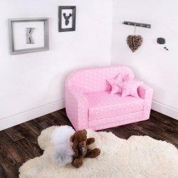Lulando sofa classic gwiazdki białe na różowym tle