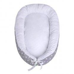 Lulando Kokon dla dziecka szary w białe gwiazdki+biały