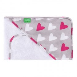 Lulando Ręcznik frotte biały + serca białe/bordowe
