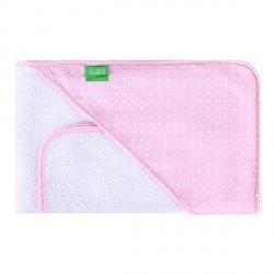 Lulando Ręcznik frotte biały + różowy w białe kropki