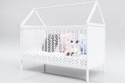 Łóżeczko niemowlęce tapczan 2w1 Domek 140x70 biały BARIERKA GRATIS