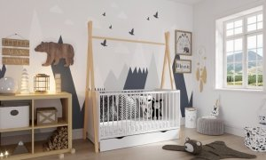 Łóżeczko niemowlęce 2w1 TIPI 140x70 sosna BARIERKA GRATIS