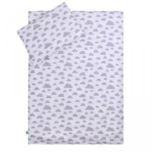 LULANDO Zestaw pościeli 40x60/100x135 cm - Szary w białe groszki + Chmurki szare na białym