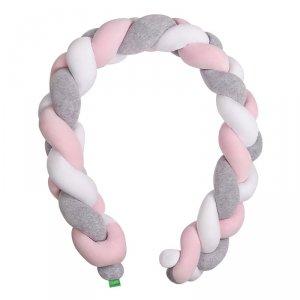 LULANDO Ochraniacz Braid Welur 300 cm - Szary/Róż/Biały