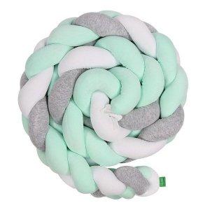 Lulando Ochraniacz- braid welur 300 cm BIG - szary/mięta/biały